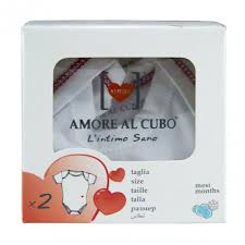 AMORE AL CUBO BODY MANICA CORTA TESSUTO INTERLOCK INVERNALE - DA 0 A 3 MESI - DA 52 A 60 CM - 2 PEZZI
