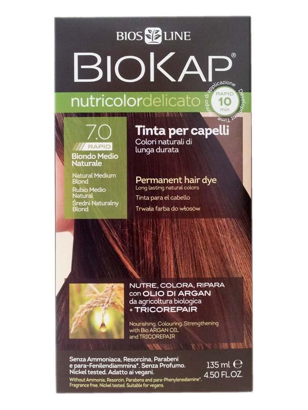 BIOKAP NUTRICOLOR DELICATO RAPID TINTA 7.0 BIONDO MEDIO NATURALE 135 ML