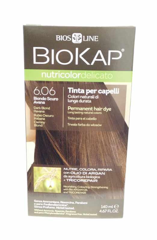 BIOKAP NUTRICOLOR TINTA DELICATO - 6.06 BIONDO SCURO AVANA - 140 ML
