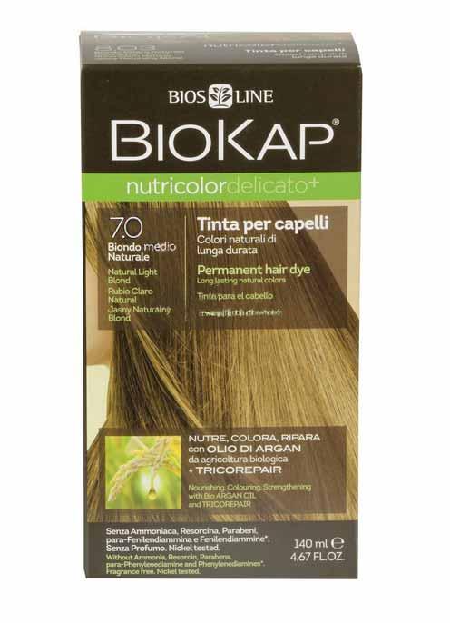 BIOKAP NUTRICOLOR TINTA DELICATO - 7.0 BIONDO MEDIO NATURALE - 140 ML