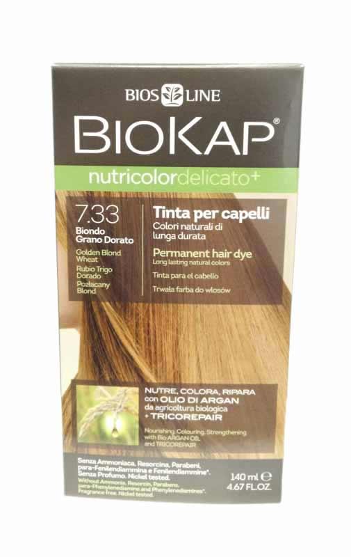 BIOKAP NUTRICOLOR TINTA DELICATO - 7.33 BIONDO GRANO DORATO - 140 ML