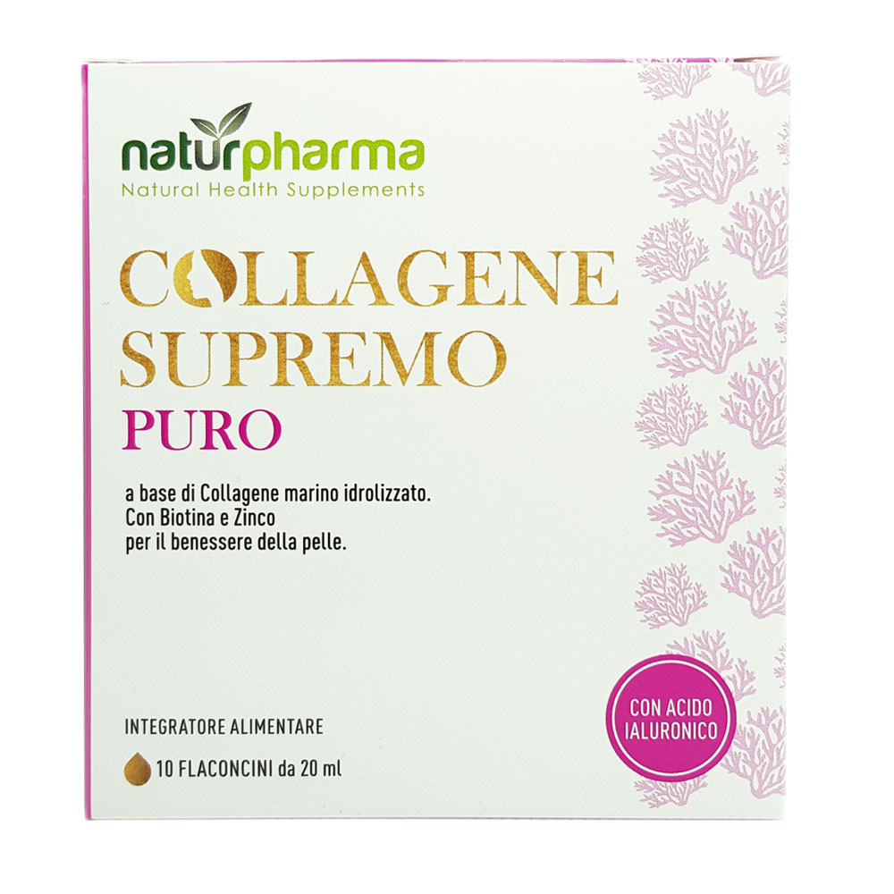 COLLAGENE MARINO SUPREMO PURO CON ACIDO IALURONICO 10 FLACONCINI DA 20 ML