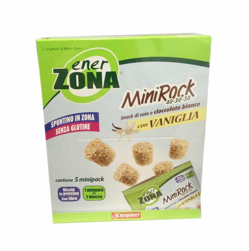 ENERZONA MINIROCK CIOCCOLATO BIANCO E VANIGLIA SENZA GLUTINE 5 MINIPACK DA 24 G