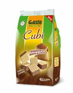 GIUSTO SENZA GLUTINE - CUBI' WAFER FARCITO CON CREMA DI CACAO E CIOCCOLATO - 175 G