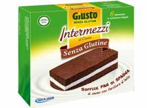 GIUSTO SENZA GLUTINE - INTERMEZZI PAN DI SPAGNA FARCITI CON CREMA AL LATTE - 180 G