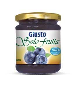 GIUSTO SENZA GLUTINE - SOLO FRUTTA MIRTILLI CONSERVE DI FRUTTA SENZA ZUCCHERI AGGIUNTI - 284 G