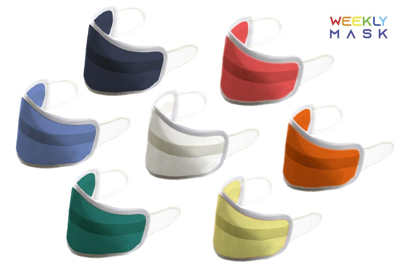 Mascherine per bambini lavabili WEEKLY_MASK - 7 pezzi 7 colori