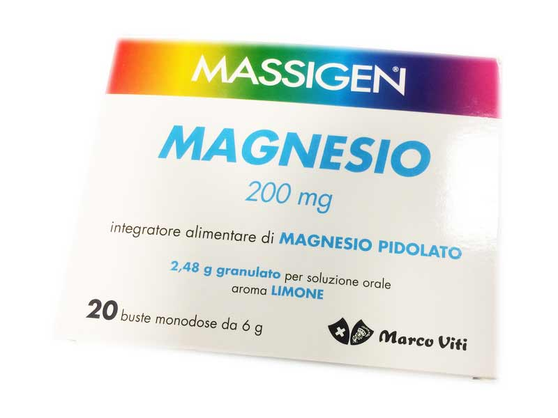 MASSIGEN MAGNESIO 200 MG MAGNESIO PIDOLATO 20 BUSTE DA 6 G