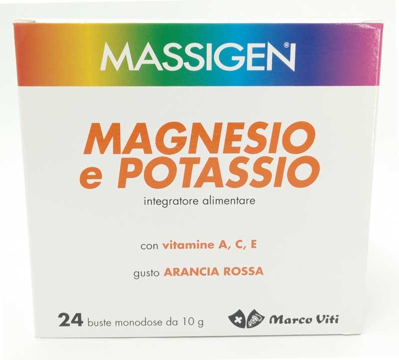 MASSIGEN MAGNESIO E POTASSIO GUSTO ARANCIA ROSSA 24 BUSTE DA 10 G
