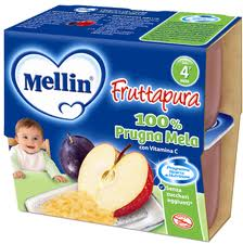 MELLIN FRUTTAPURA 100% PRUGNA MELA DAL QUARTO MESE 4 x 100 G