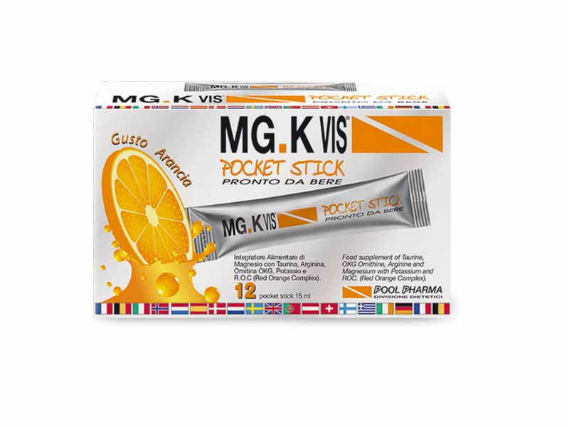 MGK VIS POCKET STICK INTEGRATORE DI MAGNESIO GUSTO ARANCIA - 12 STICK DA 15 ML