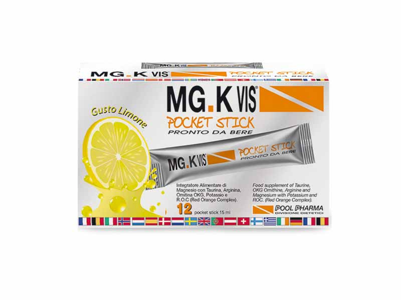 MGK VIS POCKET STICK INTEGRATORE DI MAGNESIO GUSTO LIMONE - 12 STICK DA 15 ML