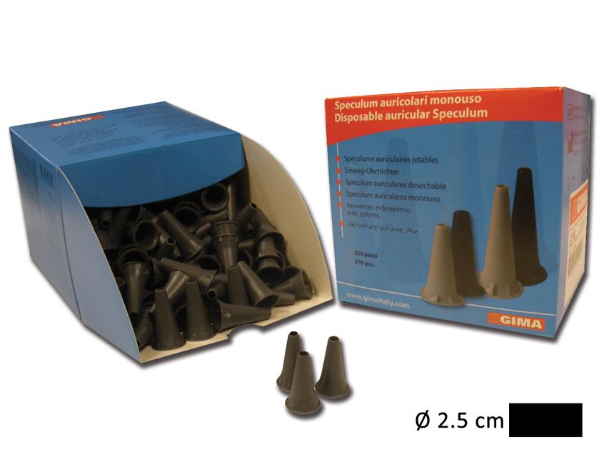 MINI SPECULUM AURICOLARE MONOUSO Ø 2.5 mm - nero
