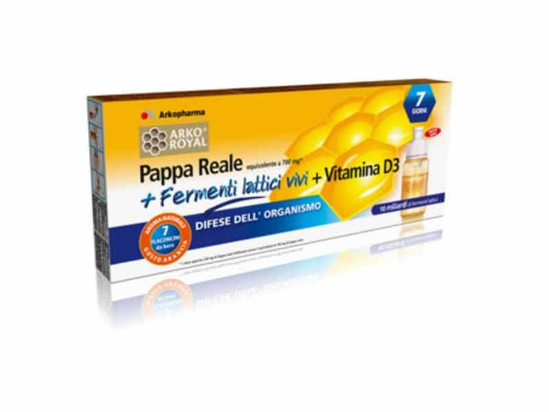 PAPPA REALE + FERMENTI LATTICI VIVI + VITAMINA B3 ARKOROYAL 7 FLACONCINI DA 10 ML