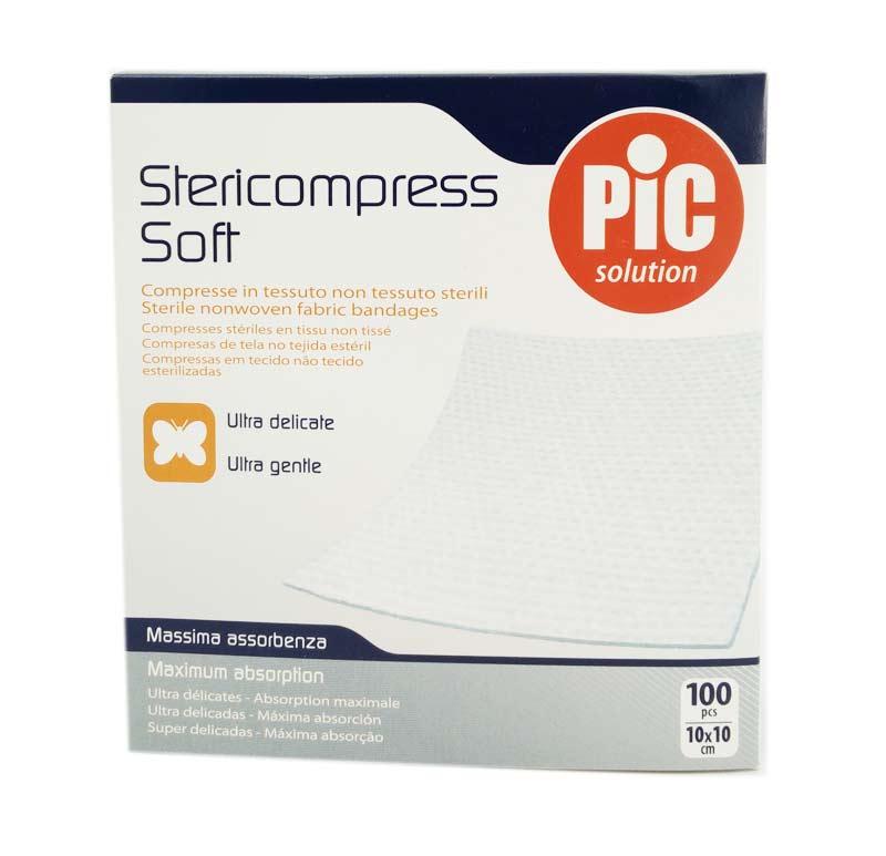 PIC SOLUTION STERICOMPRESS COMPRESSE IN TNT STERILI 100 PEZZI DA 10x10 CM