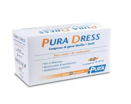PURA DRESS GARZA IDROFILA STERILE 12 PEZZI DA 18 x 40 CM