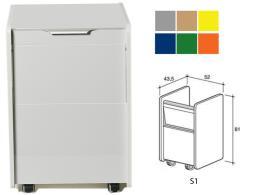 CASSETTIERA S1 - colore a richiesta (grigio, beige, giallo, blu, verde, arancione)