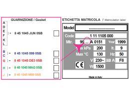 GASKET FOR H100 - serial number A,D,E,F,K,L