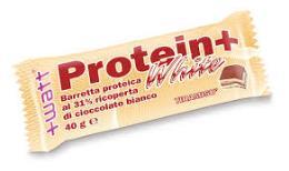 WATT PROTEIN+ WHITE - BARRETTA PROTEICA RICOPERTA DI CIOCCOLATO BIANCO GUSTO CREMA VANIGLIA - 40 G